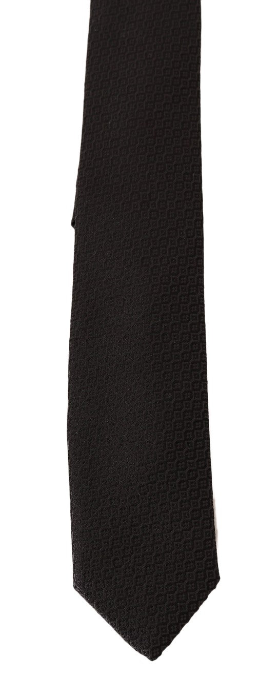 Gray Silk Pattern Slim Tie