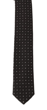 Gray Silk Dotted Slim Tie