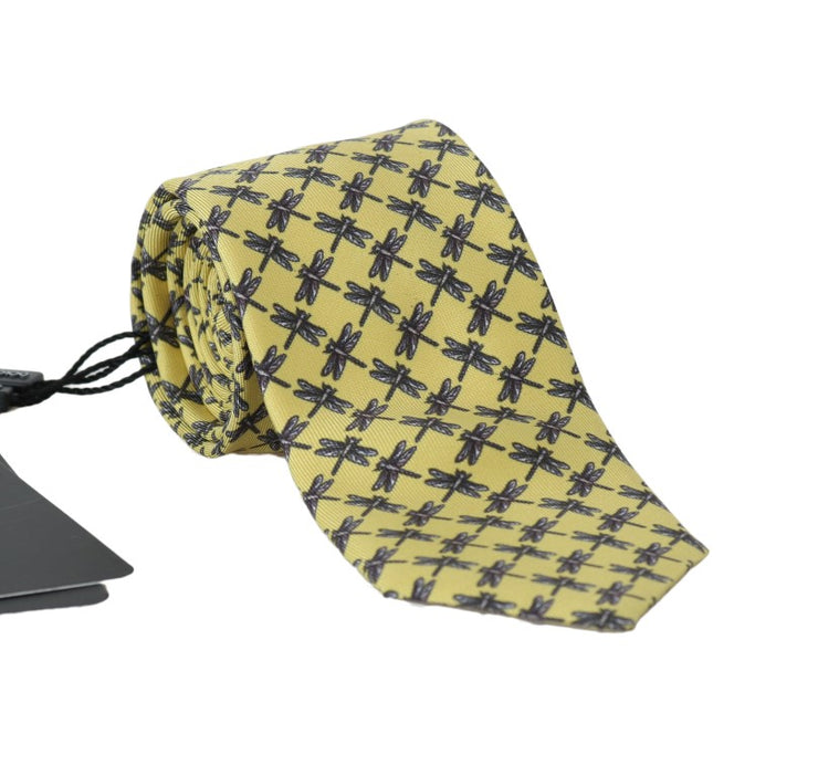 Yellow Silk Dragonfly Print Classic Tie