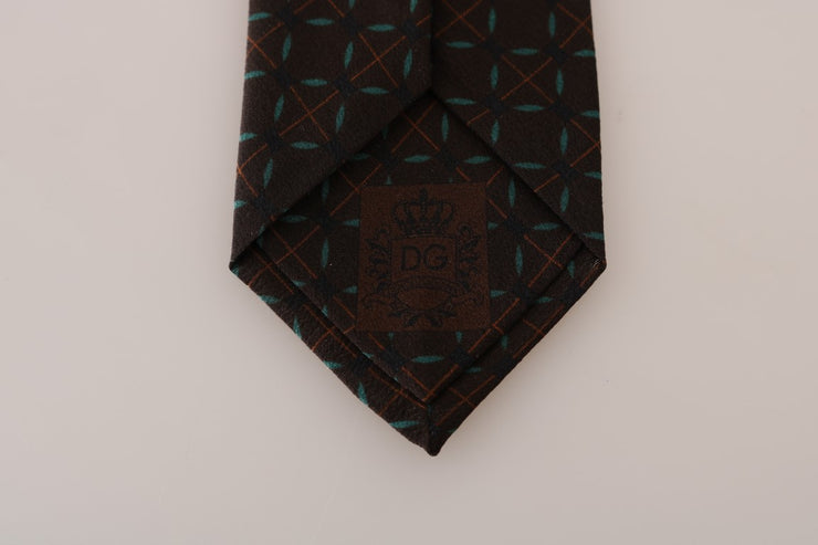 Brown Silk Patterned Classic Tie