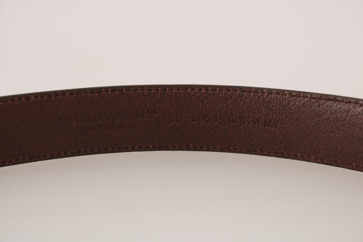 Brown Leather Gray Detachable Buckle Belt