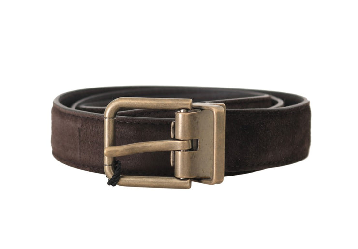 Brown Suede Leather Gold Buckle Mens Belt
