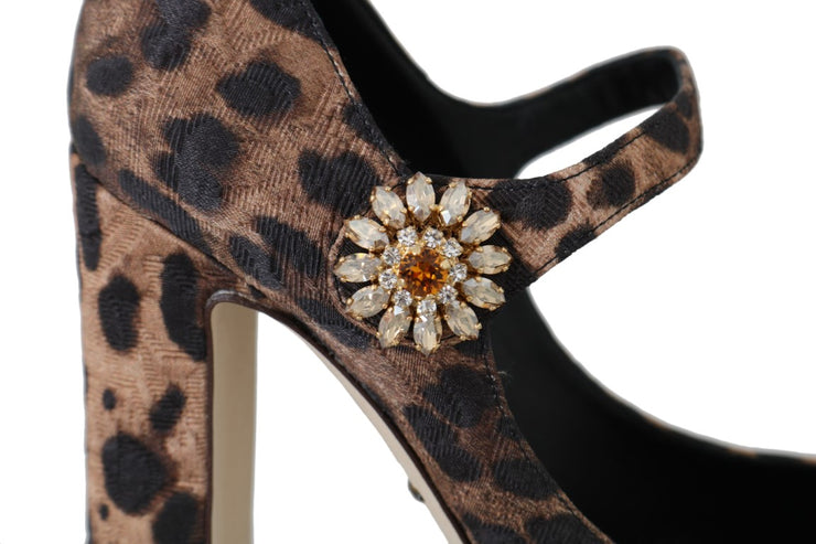 Leopard Brocade Crystal Mary Janes Shoes