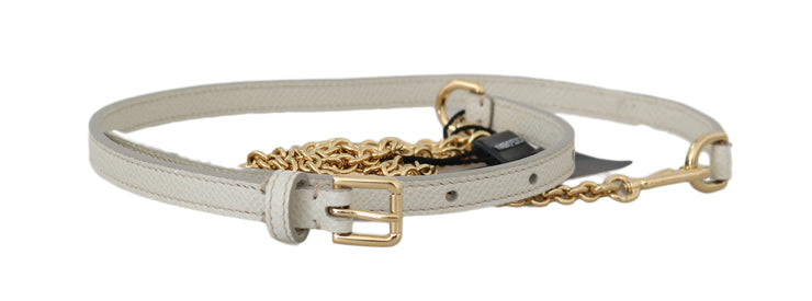 White Leather Gold Chain Double Wrap Belt