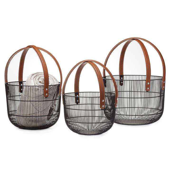 Mission Wire Faux Leather Handle Basket
