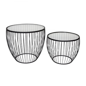 Cyclone Glass Accent Tables - Set of Two