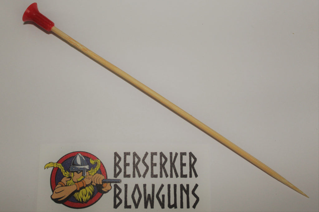 "10 Pack - .50 cal 7"" Bamboo Wooden Spear Darts with Red Cones - Berserker Blowguns"