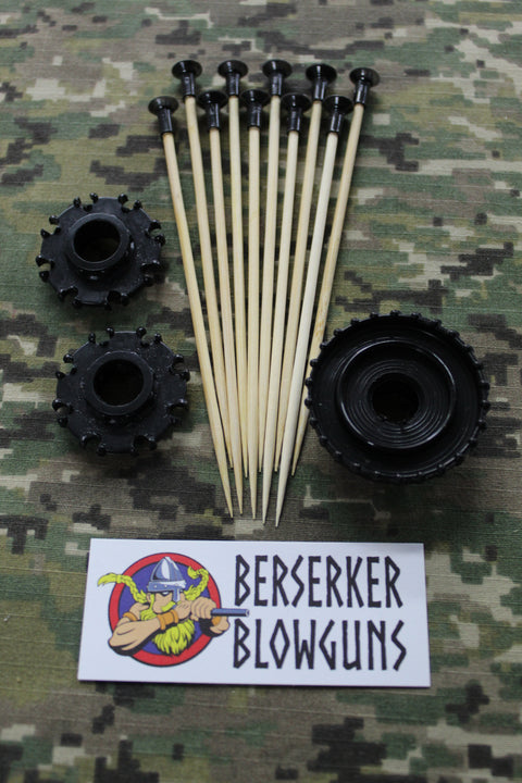 "10 - .40 cal 5"" Bamboo Wooden Spear Darts Black with 3 Pc. Quiver Set by Berserker Blowguns - Berserker Blowguns"