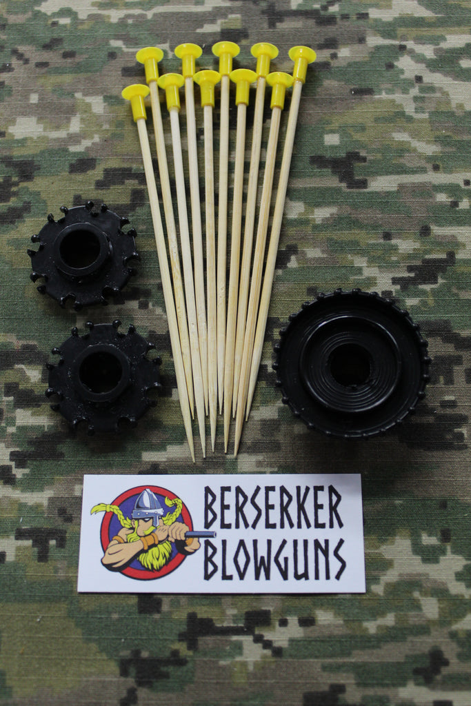 "10 - .40 cal 5"" Bamboo Wooden Spear Darts Yellow with 3 Pc. Quiver Set by Berserker Blowguns - Berserker Blowguns"