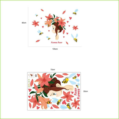 Flower Fairy Wall Sticker - Stickers