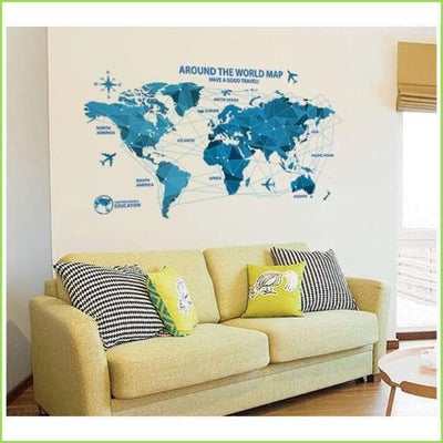 Blue World Map - Sticker