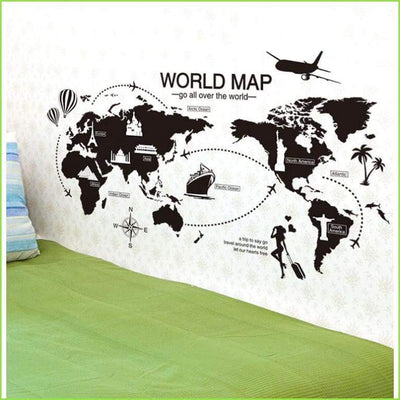 Black World Map - Sticker