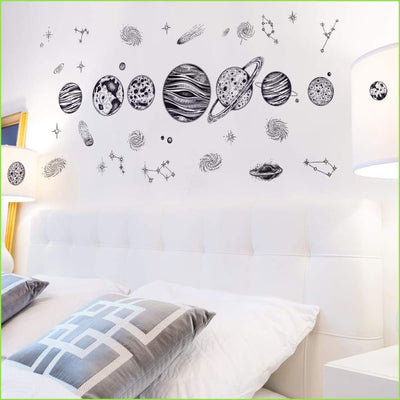 Black & White Planets Stickers - Sticker