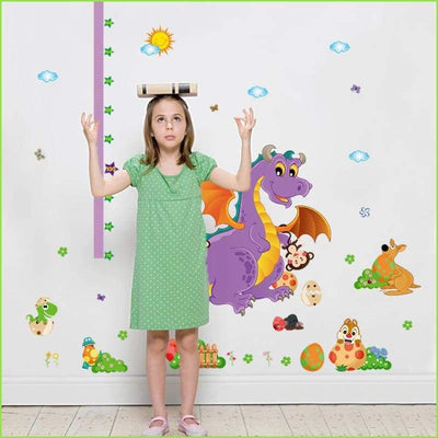 Purple Dinosaur Dragon Height Chart - Stickers