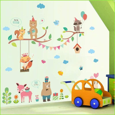 Colourful Animal Bunting Scene on WallStickersForKids