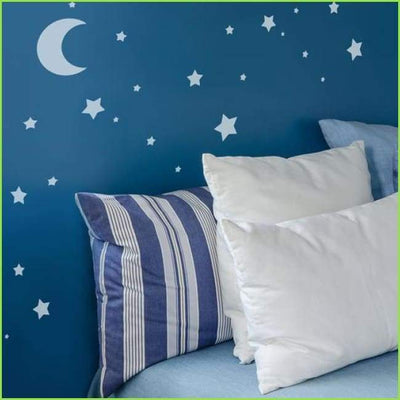 Moon and Stars Wall Stencil on WallStickersForKids