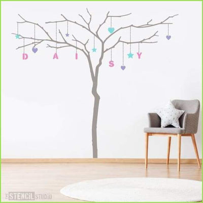 Branch Tree and Alphabet Wall Stencil on WallStickersForKids