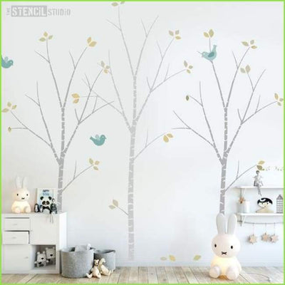 Birch Tree Nursery Wall Stencil on WallStickersForKids