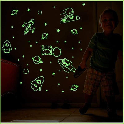 Glow in the Dark Rocket Decals on WallStickersForKids