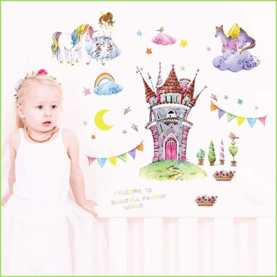 Rainbow Unicorn Castle Wall Decals on WallStickersForKids