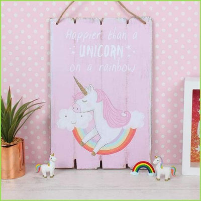 Happy Unicorn Wooden Plaque on WallStickersForKids