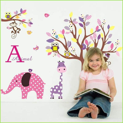 Colourful Elephant Jungle Decals on WallStickersForKids