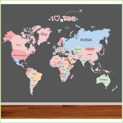 Cute Colour Map of The World on WallStickersForKids
