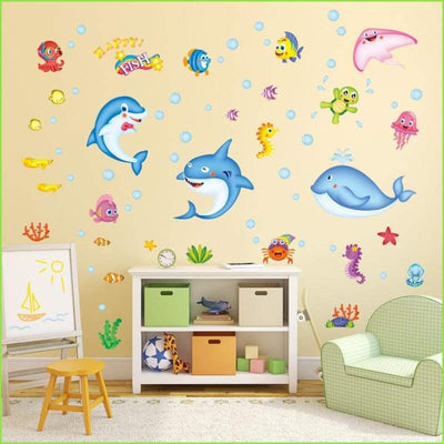 Dolphin Bathroom Wall Decals on WallStickersForKids