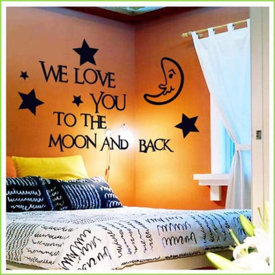 Moon and Back Wall Art Decals on WallStickersForKids