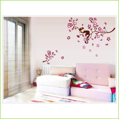 Pink Monkey Branches Wall Sticker on WallStickersForKids
