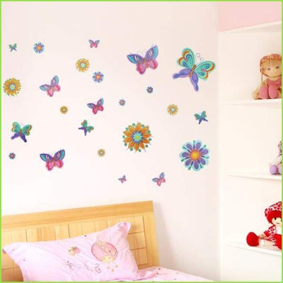 Butterflies & Flowers Wall Art on WallStickersForKids