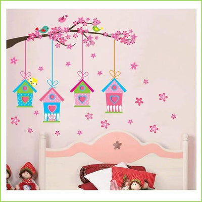 Four Bird House Wall Sticker on WallStickersForKids