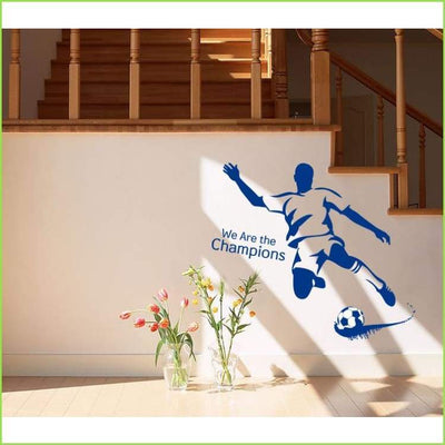 Blue Striker Football Decal on WallStickersForKids