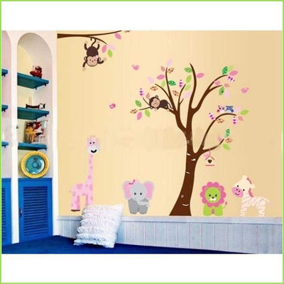 Pink Animal Jungle Wall Decal on WallStickersForKids