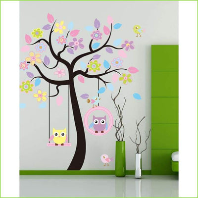 Owl Tree Swing Wall Stickers on WallStickersForKids