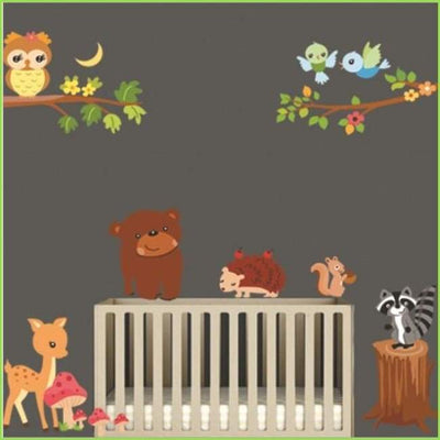 Large Woodland Animal Decals on WallStickersForKids