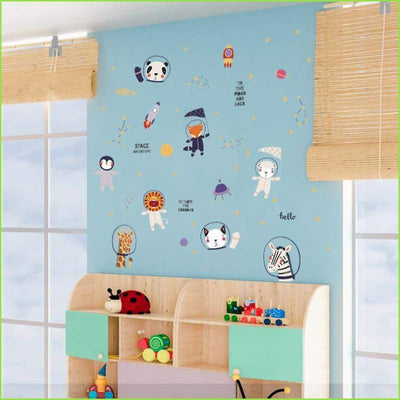 Space Adventure Animal Cartoon Wall Decal Wallstickersforkids.ie