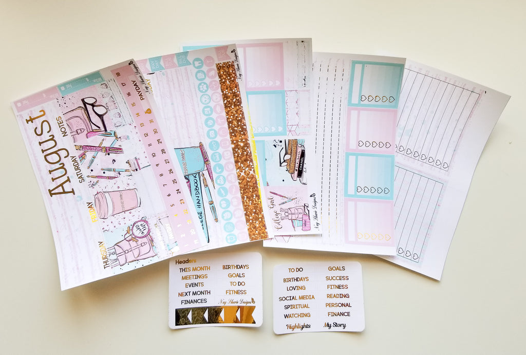 Foiled August Monthly and Notes Back to School