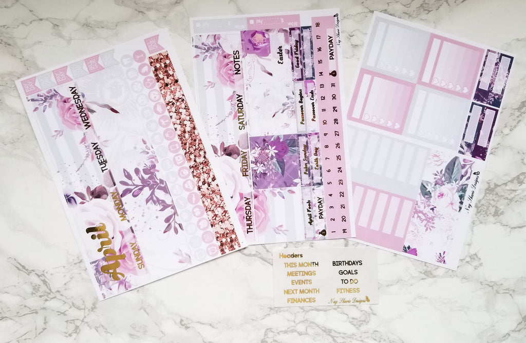 Foiled April Monthly and Notes spring floweres