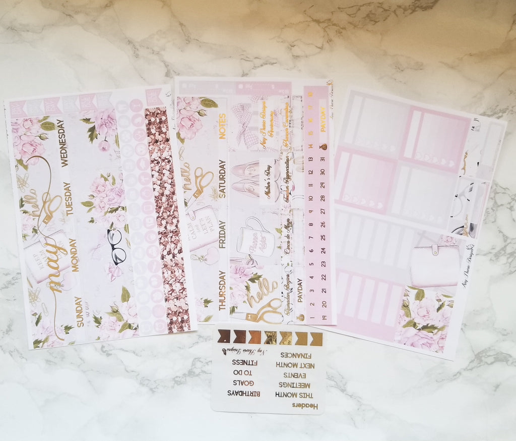 Foiled May Monthly and Notes Planner Addict