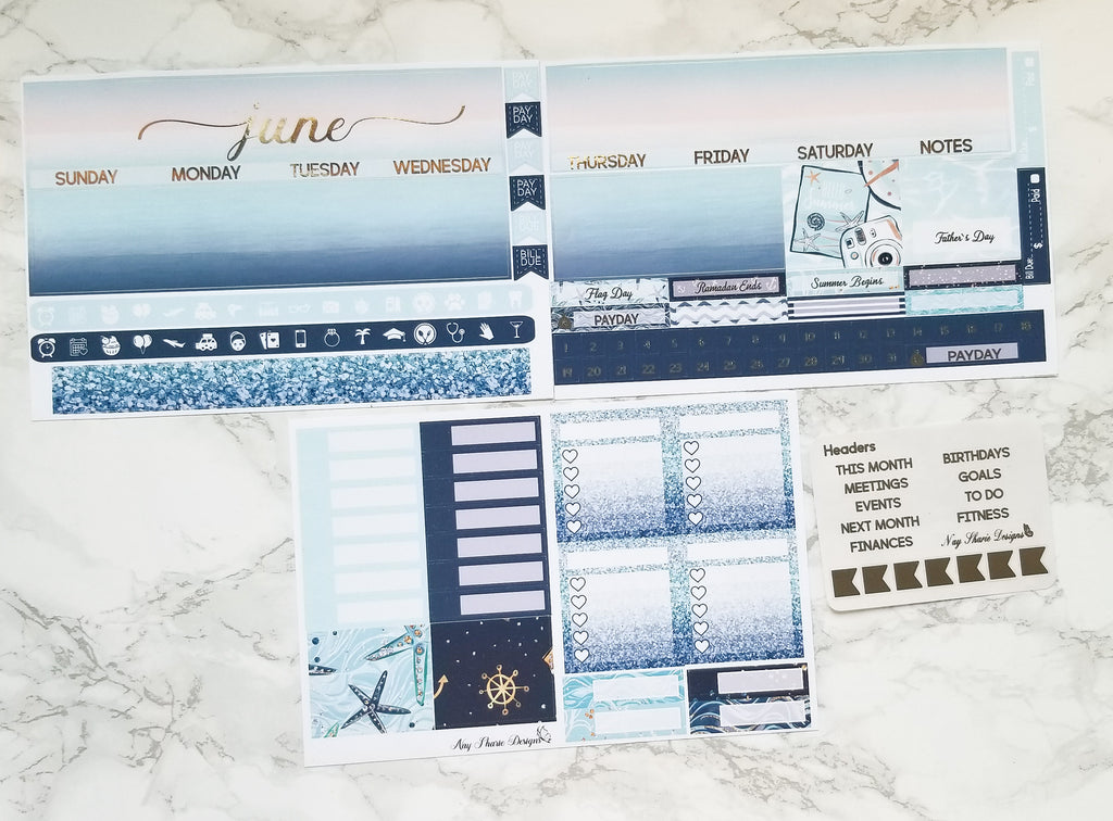 Foiled June Monthly and Notes Nautical
