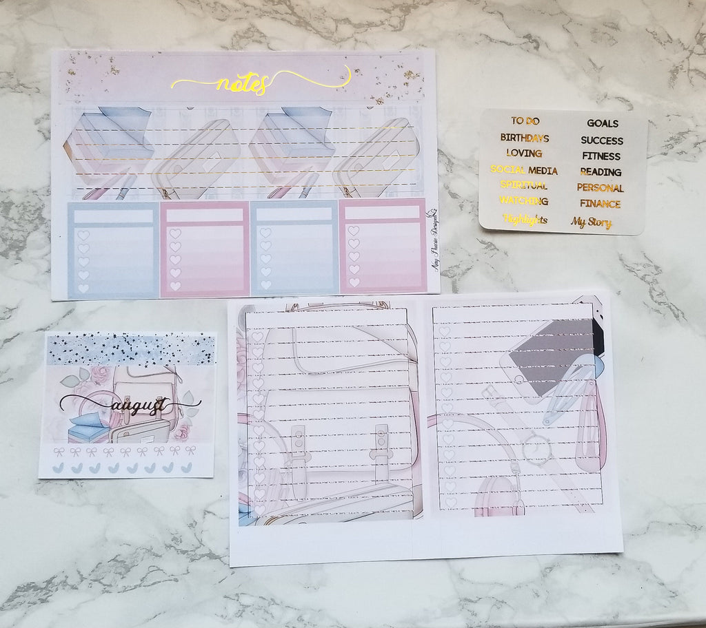 Foiled August Monthly and Notes Achieve your Dreams