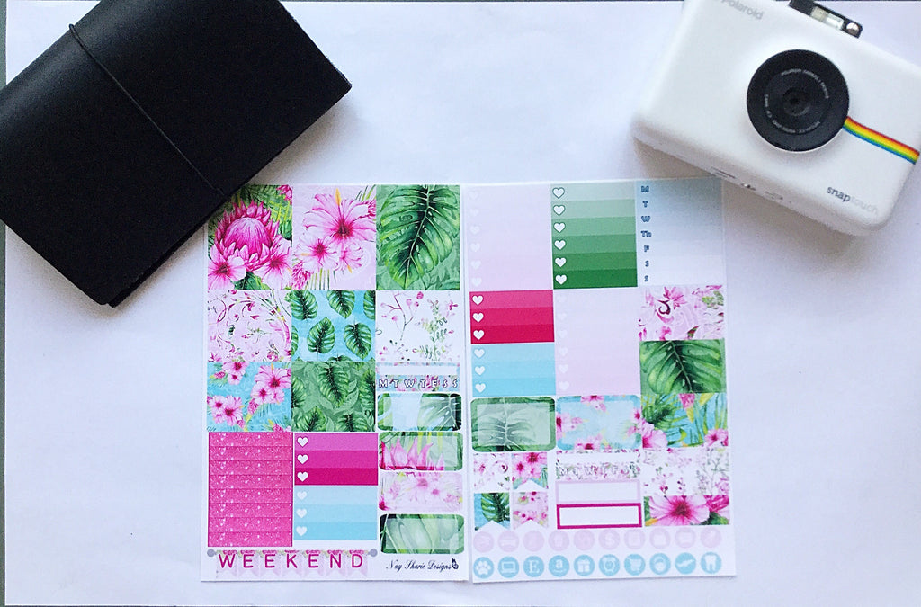 Tropical Floral  Travelers Notebook Kit great for the sew much crafting inserts (week on 2 or 4 pages), annie plans printables, personal