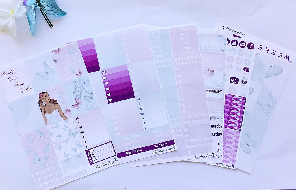 Butterfly Princess White Space and No White Space Kits for the Erin Condren, Happy Planner, and Recollections