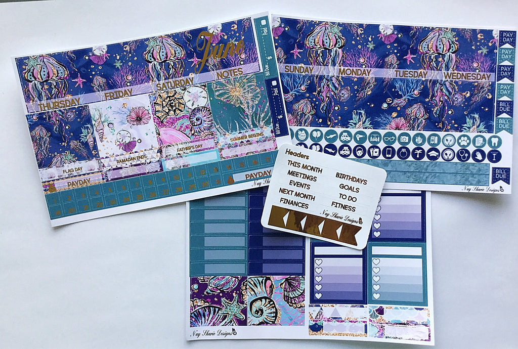 June Monthly and Notes Combo Under the Sea