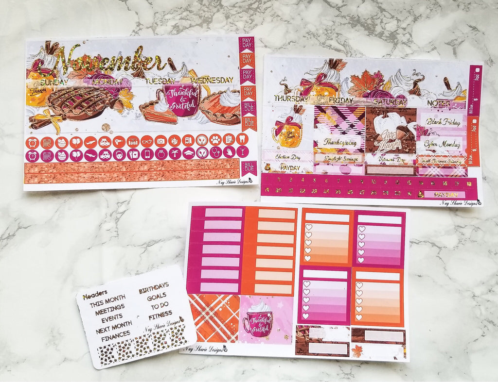 Foiled November Monthly and Notes Thanksgiving