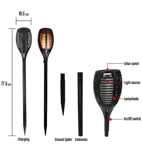 LED Solar Torch Flame Lamp 2 PACK