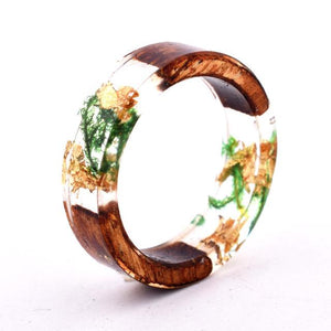 QIAOSE Exclusive Handmade  Wood Resin Ring