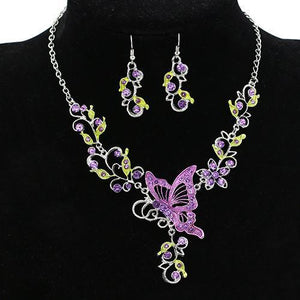 SQUISITO Butterfly Rhinestone Jewelry Set
