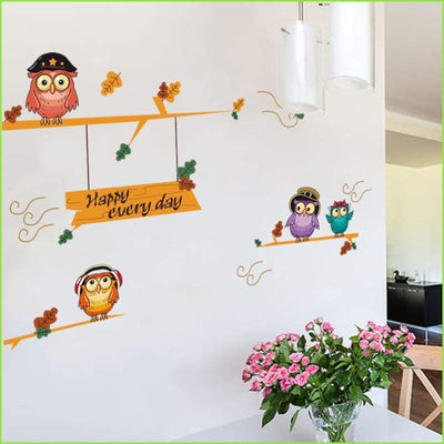 Owls Branches Kids Wall Stickers - Decals